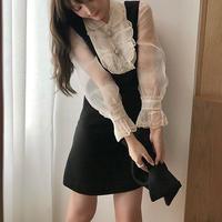 ワンピース❤韓国パーティードレス リボンがキュート可愛いお嬢様ミニワンピ hdfks962445