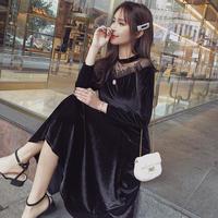 ワンピース❤韓国ドレス 肩レースがオフショルダーな大人のブラックワンピース hdfks962070