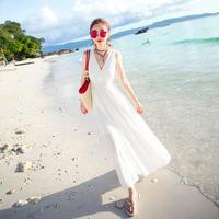 リゾートワンピース❤純白カシュクールのきれいめビーチワンピース hdfks962201
