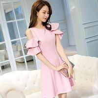 ワンピース❤韓国ドレス お花のようなフリルアシンメトリーワンショルダーの可愛いすぎるドレスワンピ hdfks962059
