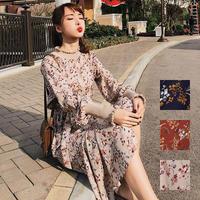 ワンピース❤人気の小花柄がガーリー感の長袖ミモレ丈ワンピ hdfks958140