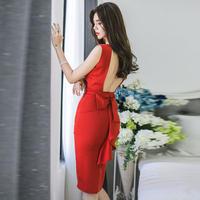 ワンピース❤韓国ドレス バックコンシャスリボンと赤・黒がとってもセクシー大人可愛い。今日は勝負と言う日に… hdfks962088