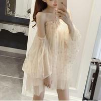 ワンピース❤韓国ドレス ちょっと大胆オフショルダー星柄スパンコールのミニドレス hdfks962152