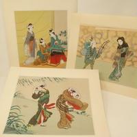 A015【木版画】浮世絵 日本画 美人画 3枚 ②