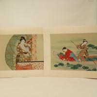 A016【木版画】浮世絵 日本画 美人画2枚 ③