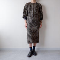 old French long-sleeve one-piece/vintage/black×柄