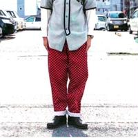 ☆チェッカーパンツ☆checkered flag cook pants /black×red