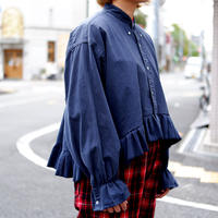 【ORIGNAL REMAKE】Remake gather frill shirt/Navy