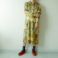 old French long-sleeve one-piece/vintage/yellow×柄