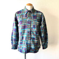 【FROM USA】patchwork check shirt /used/purple