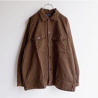 TIGRE BROCANTE (ティグルブロカンテ)/ビックマックストライプラグランシャツジャケット/ブラウン