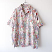 【FROM EURO】short-sleeve cotton print shirt/used/S-4