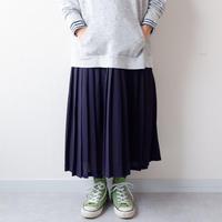 【USAより】wool pleats skirt/navy/USA古着