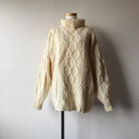 "【 FROM  EURO】fishermans sweater""turtleneck""/natural/used/古着"