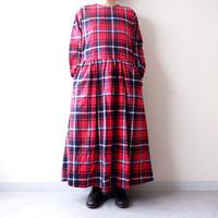 UNIVERSAL TISSU (ユニバーサルティシュ)/ロングスリーブギャザーチェックドレス/red check