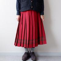 【USAより】LL.bean wool pleats skirt/red/USA古着