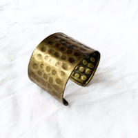 【FROM USA】used wide brass bangle /used/brass/gold