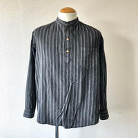 【 FROM EURO】old French stand collar pullover shirt/used/bandcollar/Black×stripe