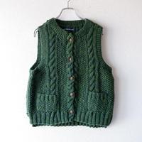 【hand knit】TIGRE BROCANTE (ティグルブロカンテ)/wool knit vest/Green