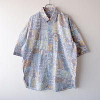 【FROM EURO】short-sleeve rayon print shirt/used/S-3