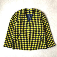 TIGRE BROCANTE (ティグルブロカンテ)/ALPACA DOBBY CHECK V-VECK JACKET/Yellow
