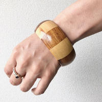 【FROM USA】used fake wood bangle /used/シマシマ