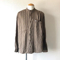 【 FROM EURO】old French stand collar rayon shirt/used/bandcollar/brown