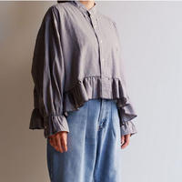 【ORIGNAL REMAKE】Remake gather frill shirt/gray check