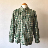 【FROM USA】patchwork check shirt /used/green