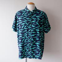 【FROM USA】short-sleeve fish print  rayon shirts/used/22