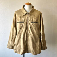 【FROM EURO】wide  design zipper shirt /used/beige