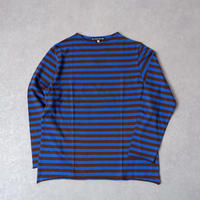TIGRE BROCANTE (ティグルブロカンテ)/吊りムラBorder Bottle Neck 9分袖T/ blue×brown