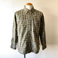 【FROM USA】patchwork check shirt /used/beige