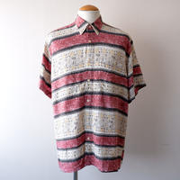 【FROM EURO】short-sleeve rayon print shirt/used/柄-3