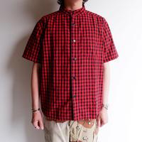 TIGRE BROCANTE (ティグルブロカンテ)/インディゴギンガムチェックバンドカラーオープンシャツ/RED