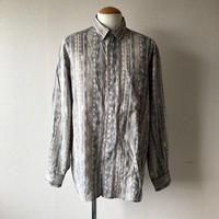 【FROM EURO】 総柄 rayon shirt /used/grey