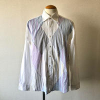 【FROM EURO】  front patchwork design dress shirt/used/White