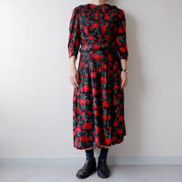 old French half-sleeve one-piece/vintage/red×black×柄