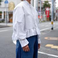 【ORIGNAL REMAKE】Remake gather frill shirt/White