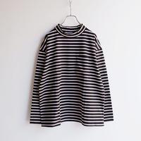 HARVESTY (ハーベスティ)/  MOCK NECK L/S TEE STRIPES(ボーダー モックネック 長袖Tシャツ)ブラックxホワイト