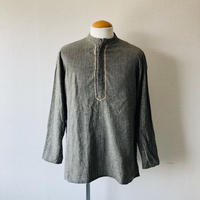 【 FROM EURO】old French stand collar pullover shirt/used/bandcollar/fryfront