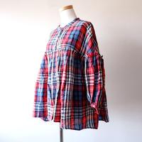UNIVERSAL TISSU (ユニバーサルティシュ)/タータン ギャザーシャツ/184ネイビータータン