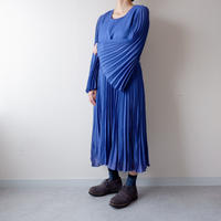 old French pleats-sleeve one-piece/vintage/blue