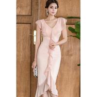 お呼ばれ ドレス フリルワンピース マーメイドスカート パーティー 結婚式 2次会 ピンク S、M、L、XLサイズ 送料無料