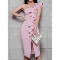 お呼ばれ ワンショルダー ワンピース ドレス 結婚式 パーティー 2次会 ピンク S、M、L、XLサイズ 送料無料