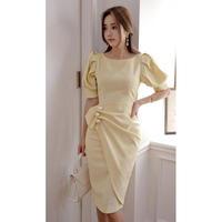 清楚なワンピース ドレス お呼ばれ パーティー 結婚式 2次会 イエロー S、M、L、XLサイズ 送料無料
