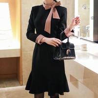 大人可愛い 上品 ワンピース 春 秋 冬 リボン 長袖 マーメイドスカート ブラック S〜XLサイズ 送料無料