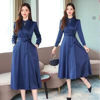 上品 ブルー ドレス ワンピース 秋 冬 リボン ラウンドネック 長袖 ロング ブルー S〜XLサイズ 送料無料