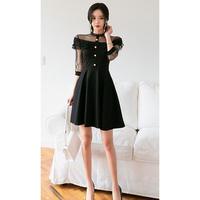 パーティー ワンピース ドレス Aラインスカート 結婚式 お呼ばれ 2次会 ブラック S〜XLサイズ 送料無料