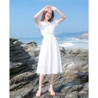 白 清楚 愛され ワンピース デート お出かけ 通勤 リゾート ビーチ バカンス ホワイト S〜Lサイズ 送料無料